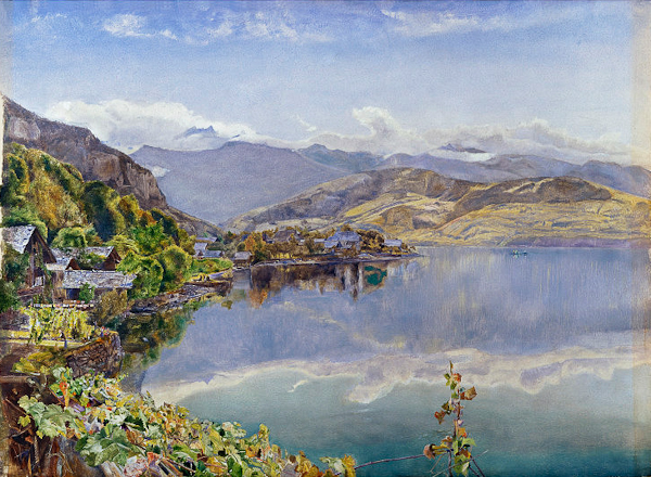 John Inchbold (1830-1888 ) Lake Lucerne: Mt. Pilatus in Distance, 1857, oil on panel, Victoria & Albert Museum.