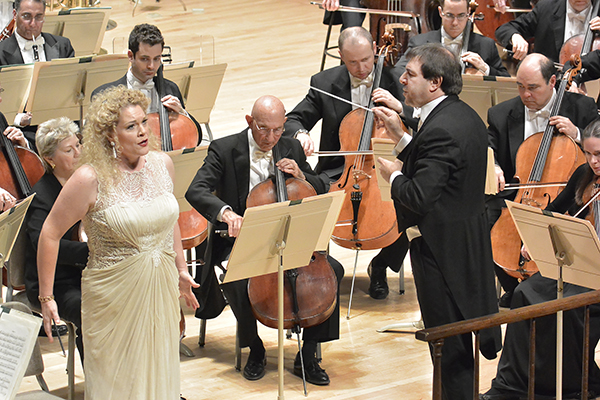 Michelle DeYoung and Daniele Gatti in an all-Wagner Program with the BSO (White Dress). Photo Stu Rosner.