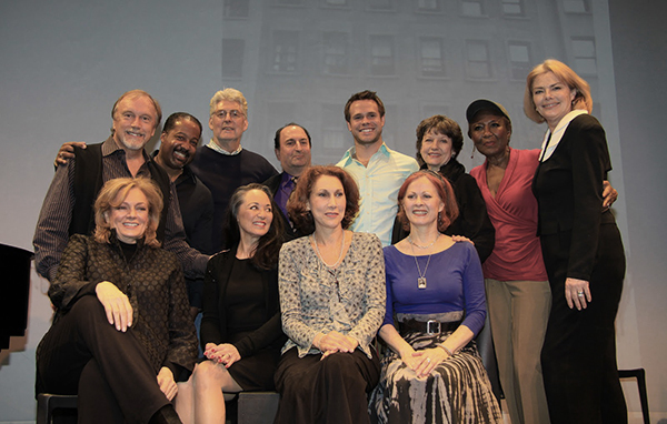 """The creators and cast of """"Good Girls Only"""": Back Row: George Lee Andrews, Eric Scott Reed (composer), Charles Leipart (book & lyrics), Larry Spivack (musical Director/Composer), Jamey Grisham, Kathleen Conry (Director), Ernestine Jackson, Denise Pence Boockvor (Producer). Front row seated: Jane Summerhays, Victoria Mallory, Randy Graff, Mary Lou Barber. Photo Sue Coflin."""