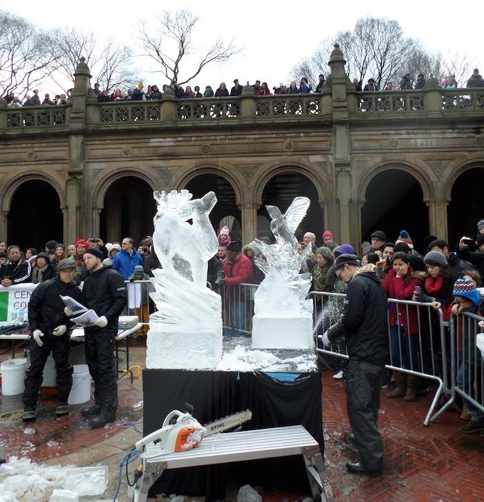 Central Park Ice Festival ice sculptures