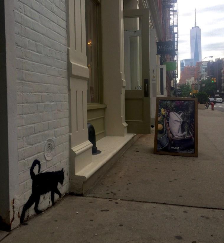 cat stencil art soho