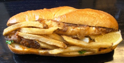 Today 39 s lunch old bay fish sandwich from bistro truck for Good fish sandwich near me