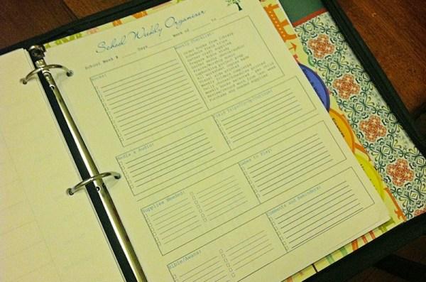 Homeschool Weekly Organizer