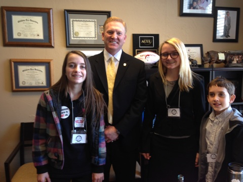 Representative Mark McCullough with Rachael, Stormie, and Joel