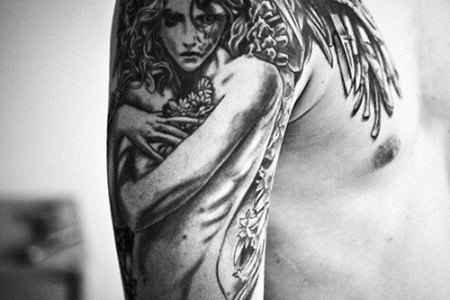 angel wings tattoo for men