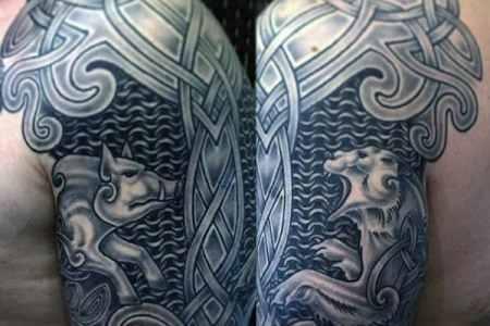 boar and bear mens half sleeve celtic tattoo inspiration