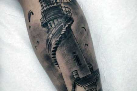 forearem lighthouse tattoo with comp for men