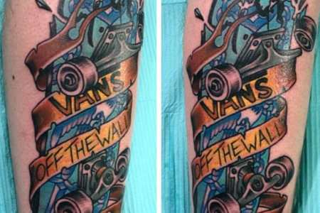 mens blue and yello skateboard tattoo design ideas