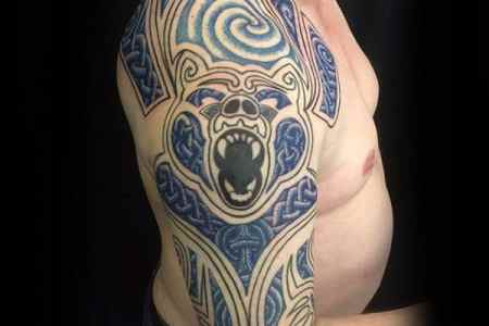 tribal bear celtic knot mens half sleeve tattoos