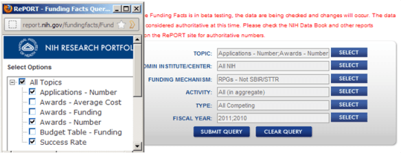 screen shot of Funding Facts showing the selections outlined above