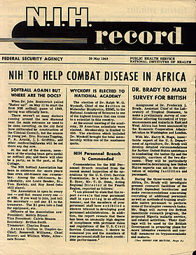 "Cover of 1949 inaugural issue of the NIH Record newsletter with headline ""NIH TO HELP COMBAT DISEASE IN AFRICA"""
