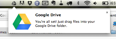 Google Drive for Mac sync status