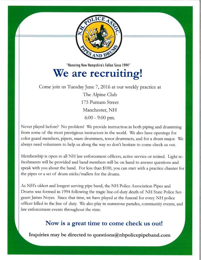 NHPA Pipes and Drums Recruitment Night flyer