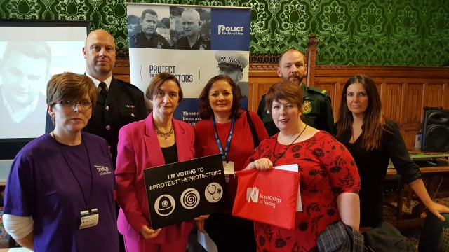 Nia Griffith MP with Protect the Protectors campaigners