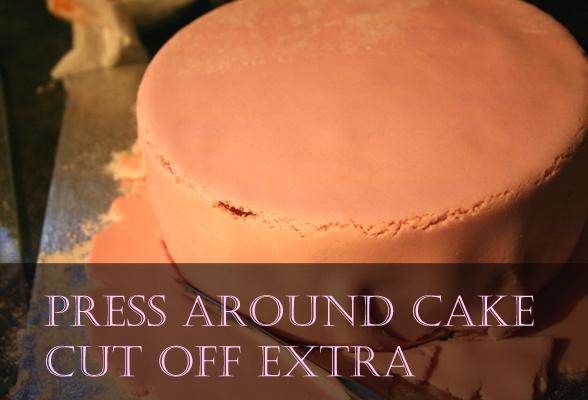 press icing around cake and trim