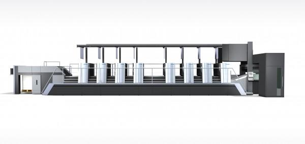 スピードマスターXL106-8-Pのdrupa2020ジェネレーションモデル。完全自動の刷版搬送システムを搭載している。