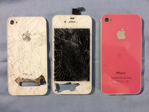 Back of the iPhone, side by side with the old screen and back cover.