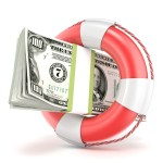 Life buoy with dollars banknote. 3D render illustration isolated on a white background