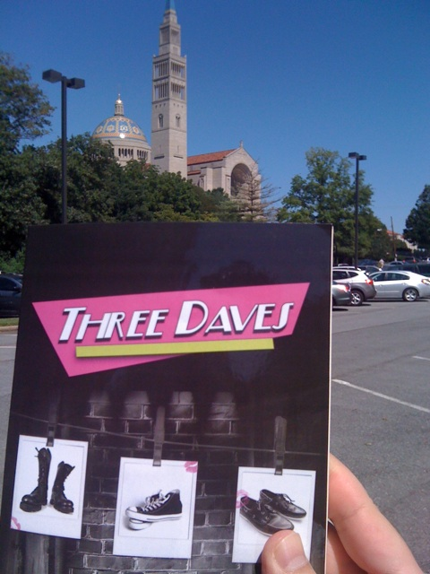 Three Daves practices its Act of Contrition as it approaches the Basilica of the National Shrine of the Immaculate Conception. (Say that three times fast)
