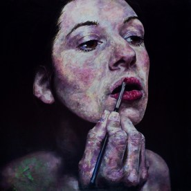 "SOLD - Amanda's Lips - 48""x48"" - oil on board"