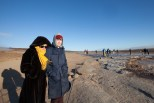 Members of Blouse watch as Members of Vacationer & Blouse enjoy the Geysir Spray