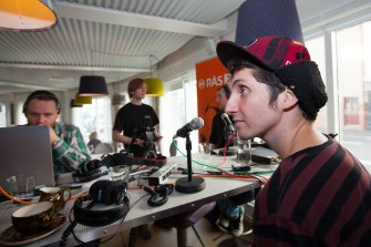 Kenny Vasoli of Vacationer being interviewed by Radio RÚV at Icelandair Hotel Reykjavik Marina
