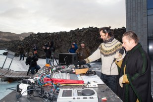Gus Gus & DJ Margeir Ingolfsson at the Iceland Airwaves Blue Lagoon Chill Party