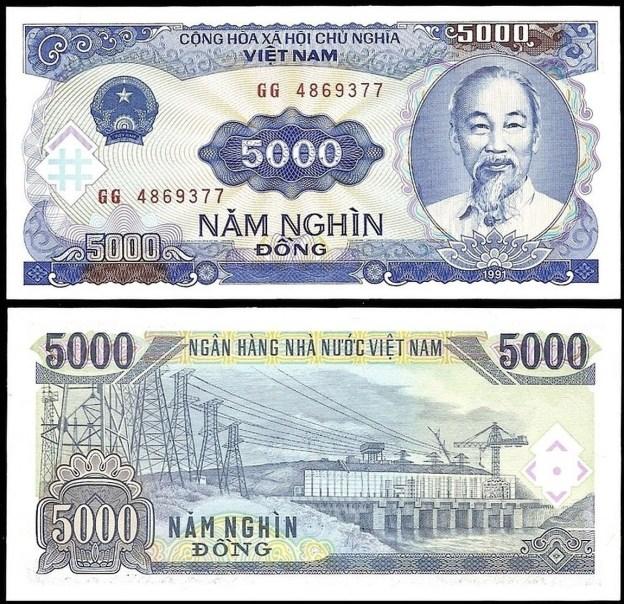Vietnam 5000 DONG 1991 P 108 UNC