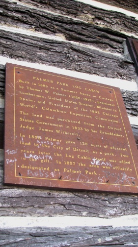 palmer park log cabin plaque