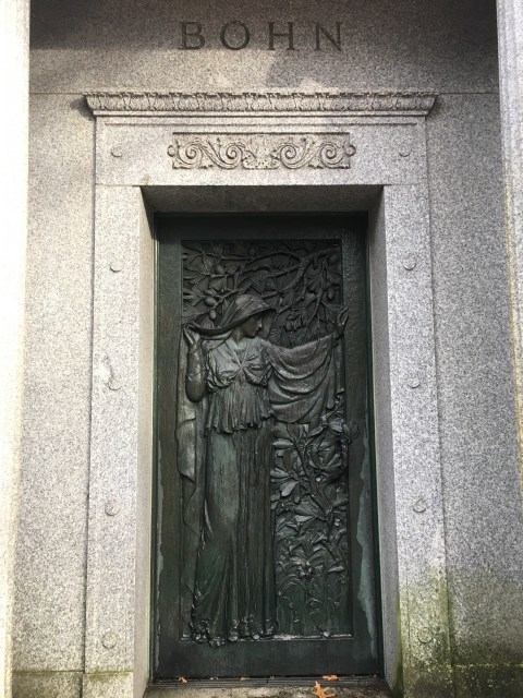 A lavish art nouveau door at the private mausoleum of Charles Bohn.