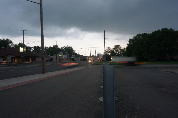 Running from rain in Warren, Ohio.