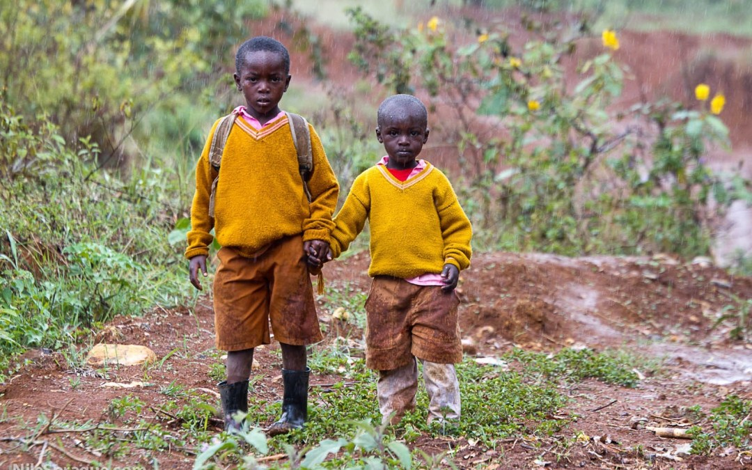 Photo: Boys in the rain, Kenya