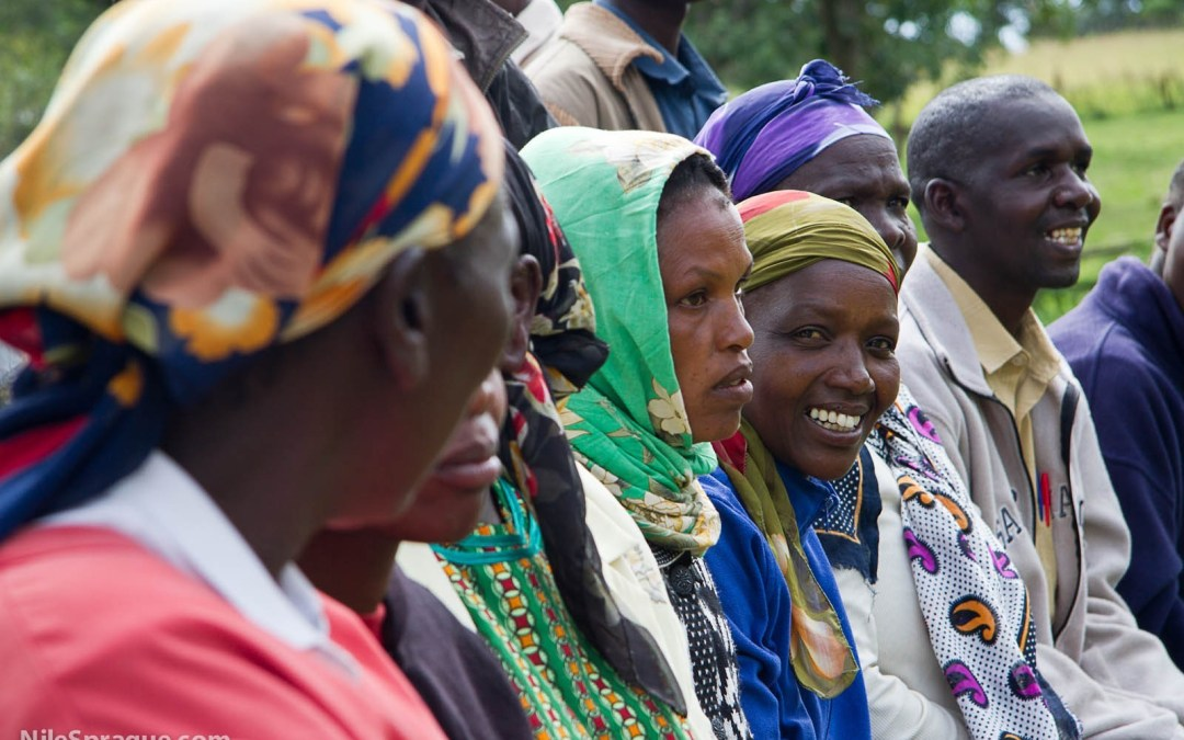 Photo: Women of Tiret Self-Help Group passion fruit farmers cooperative watching presentation, Project Nurture, Tiret, Kenya.