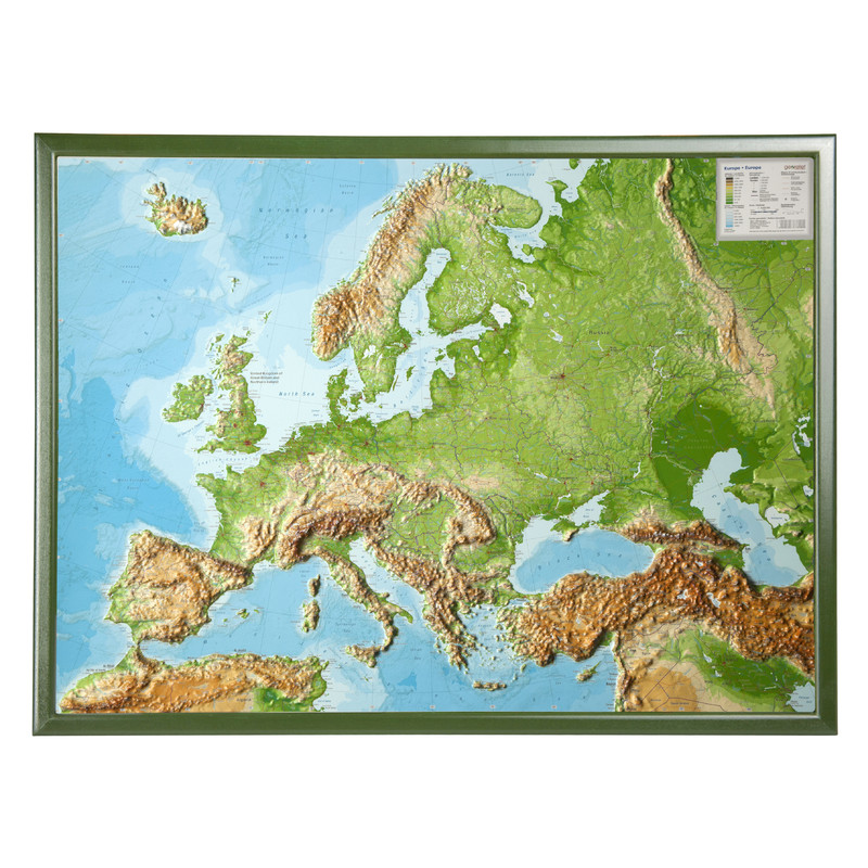 Georelief European relief map  large  3D  with wooden frame