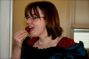 No one can eat a strawberry like Liz can... maybe Kaylee from firefly