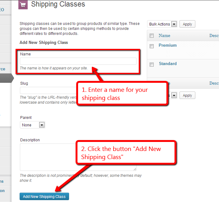 how to assign rates to woocommerce shipping classes step 2