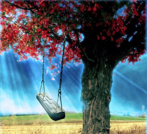 sky tree and swing photo manipulation