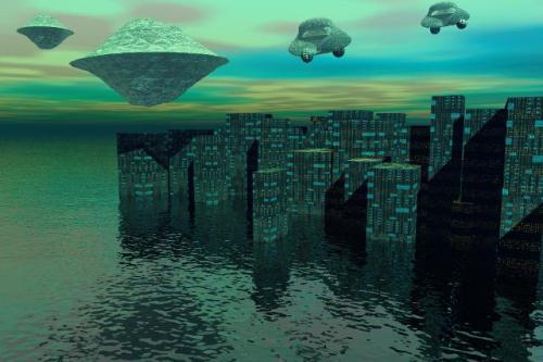 making of futuristic cityscape using bryce