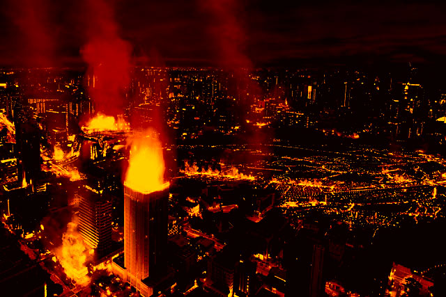 city on fire photo manipulation