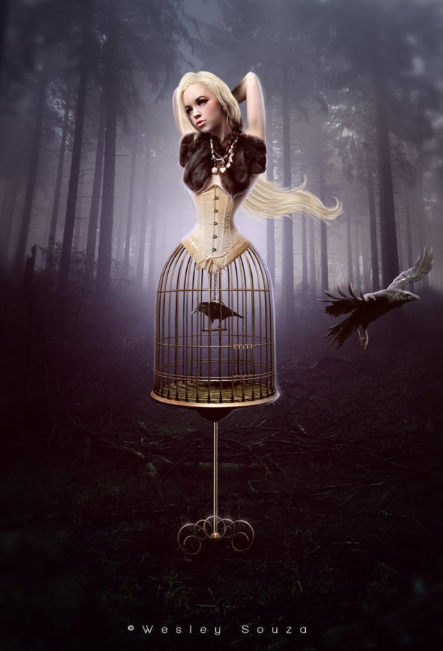 girl in a cage with a crow photo manipulation