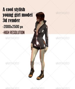 stylish 3d render of a young girl