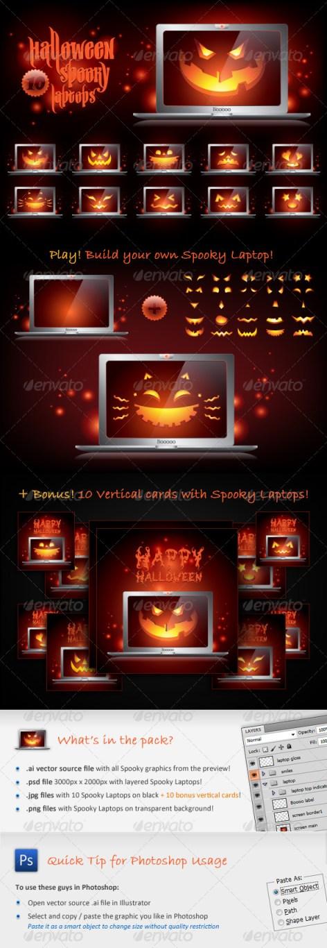 halloween laptops vectors