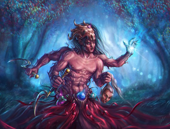 caster_by_insolense fantasy scary monster painting