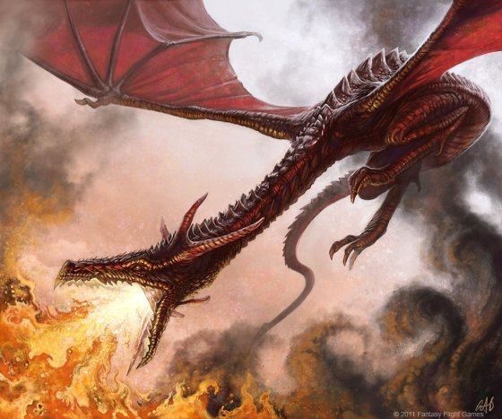 dragon with fire digital painting