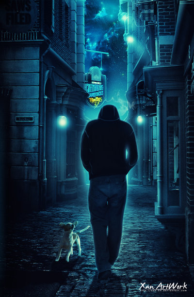 photo manipulation of a lonely man walking on a road at night time with a doh