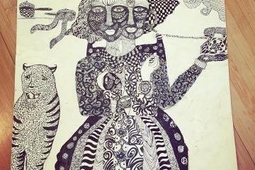 Snubnose finally finished her #art #artsy #art_belief based on the style of artist #subramaniamravishankar