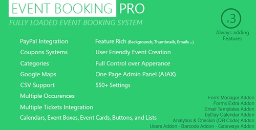 CodeCanyon - Event Booking Pro v3.5 - WP Plugin [paypal or offline] - 5543552
