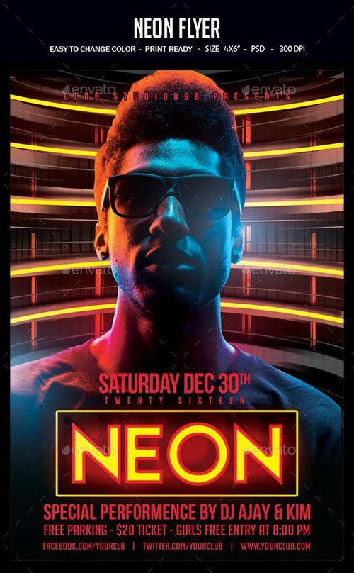 GraphicRiver - Neon Flyer 22668673