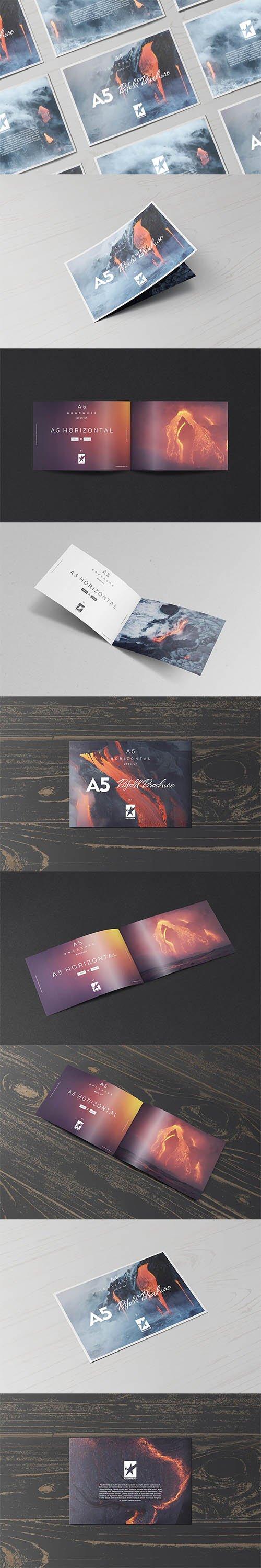 Bi-Fold A5 Horizontal Brochure Mock-Ups Vol.1