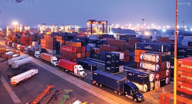 The massive Port of New York and New Jersey has an impressive array of associated ocean vessels, large-scale equipment, longshoremen and land transportation methods, the port handles containerized shipments, bulk/break bulk cargo and automobile shipments. (Geoffrey Hobbs for Hilton Head Images)